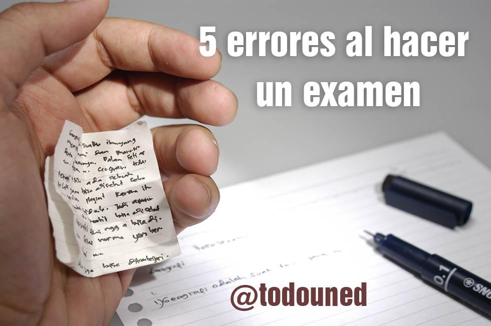 errores al hacer un examen